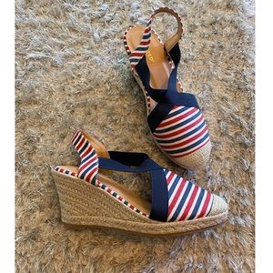 Wanted Striped Wedge Shoes Size 8